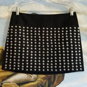 Vtg 90s Black Mini Skirt Silver Domes by Candie's
